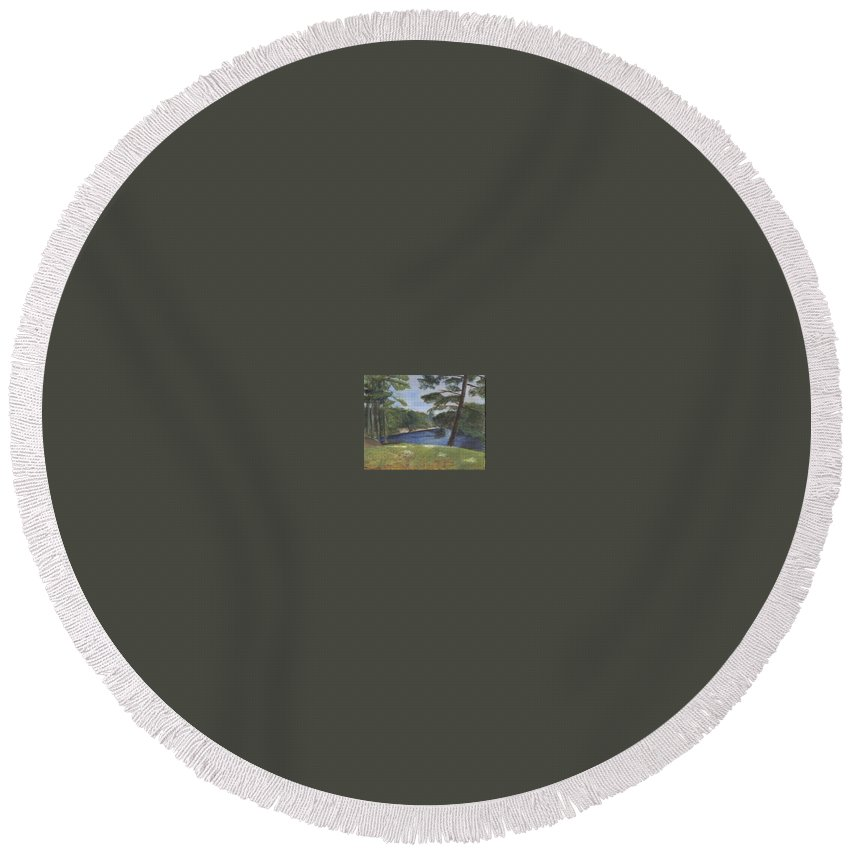 Moose River Round Beach Towel featuring the painting Moose River by Sheila Mashaw