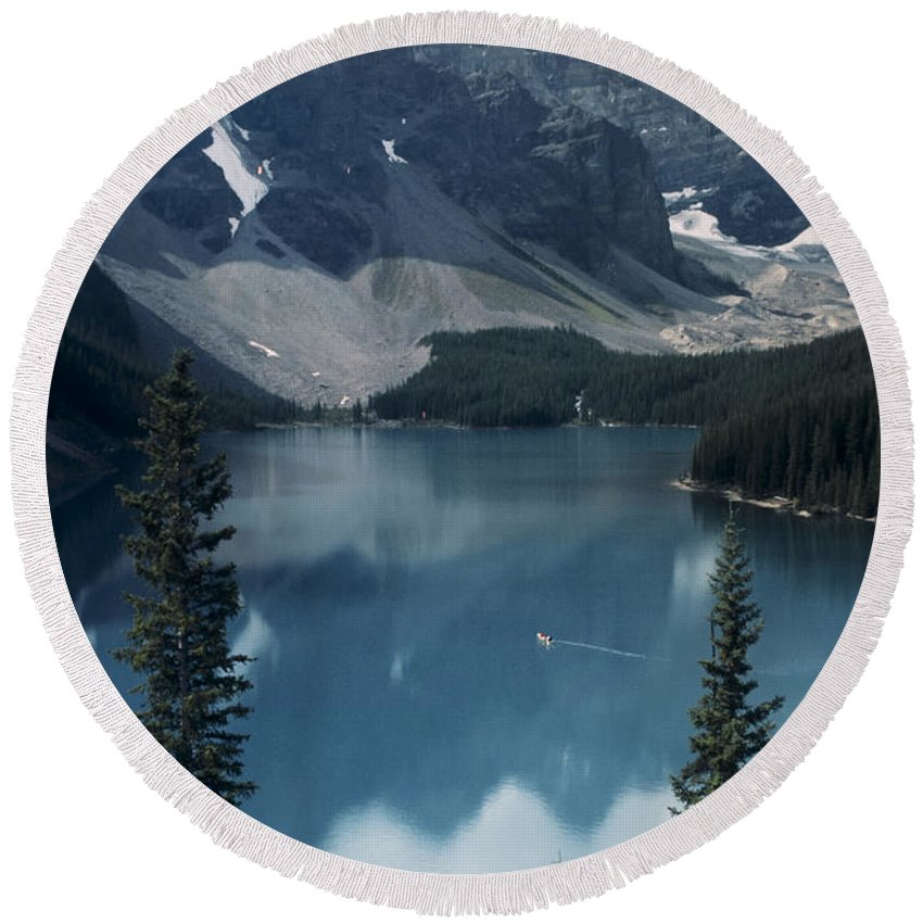 Alberta Round Beach Towel featuring the photograph Morain Lake by Roderick Bley