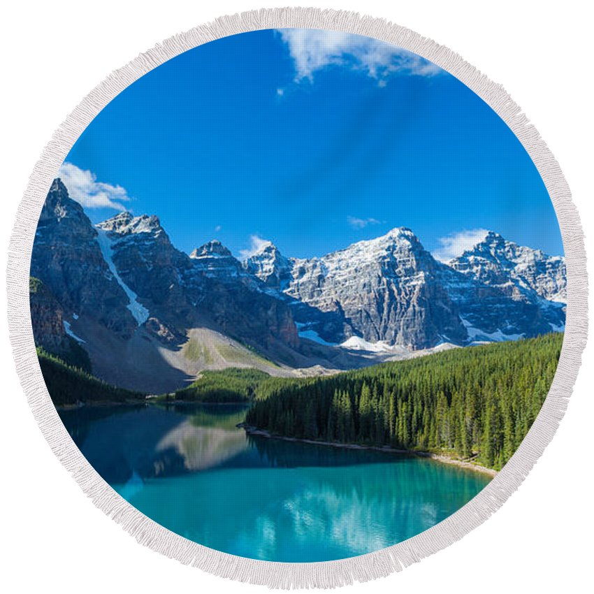 Photography Round Beach Towel featuring the photograph Moraine Lake At Banff National Park by Panoramic Images