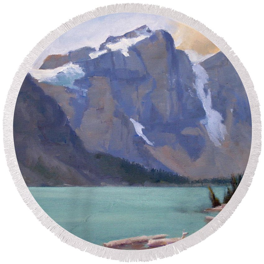 Plein Air Painting Round Beach Towel featuring the painting Moraine Lake Banff by Mohamed Hirji