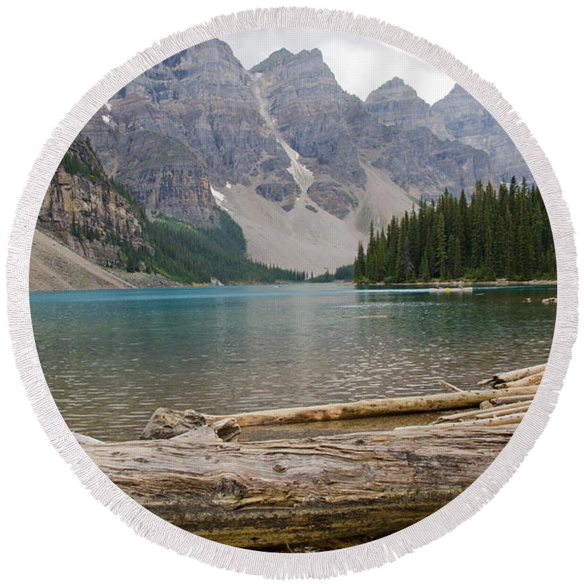 Moraine Lake Round Beach Towel featuring the photograph Moraine Lake by Ralf Broskvar