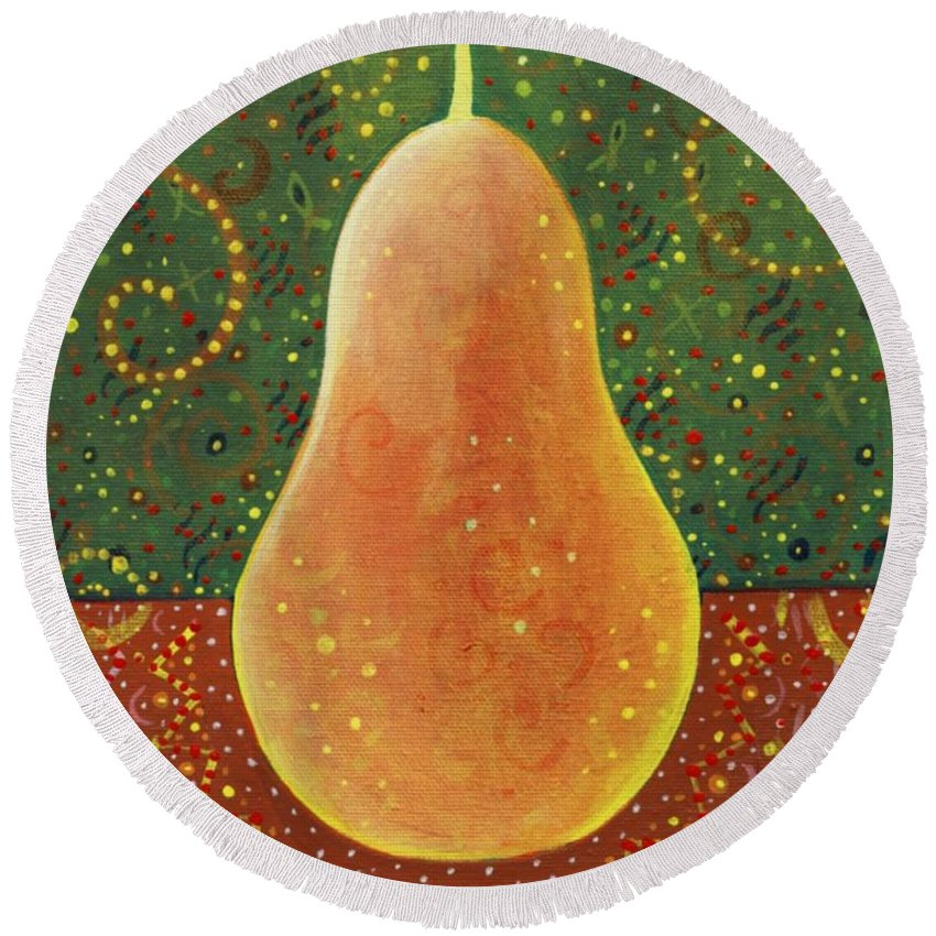 Pear Round Beach Towel featuring the painting More Than A Pear by Helena Tiainen