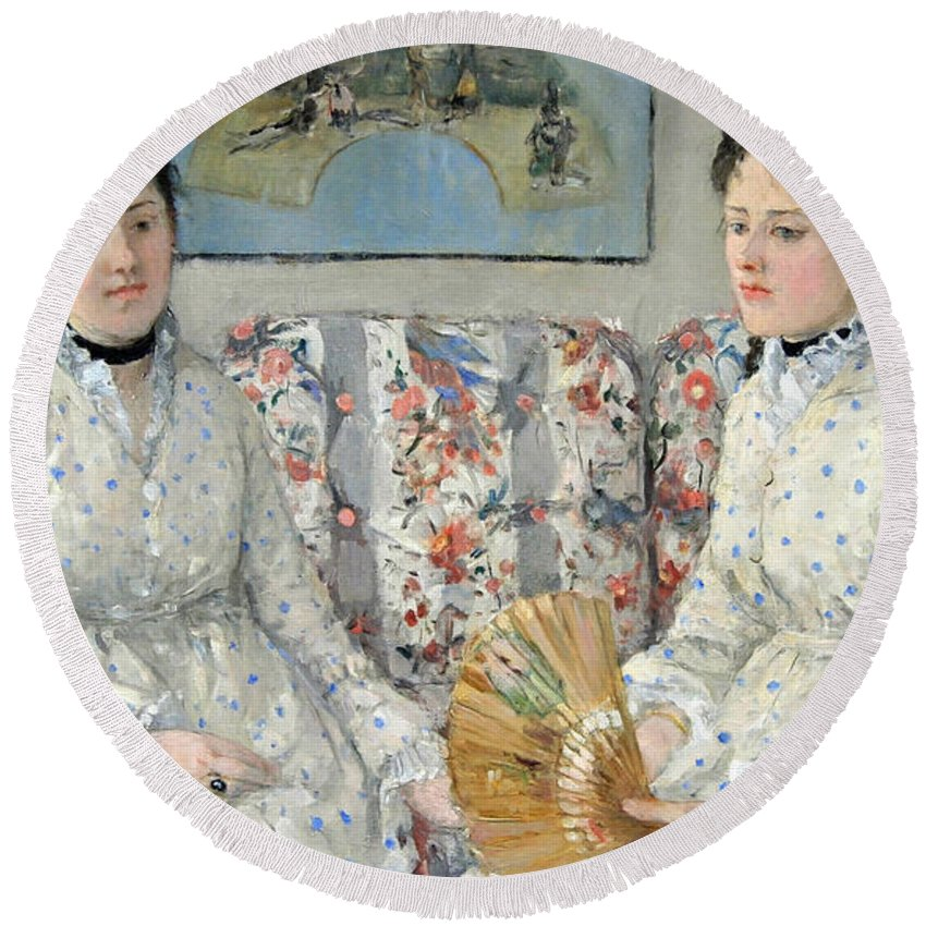 The Round Beach Towel featuring the photograph Morisot's The Sisters by Cora Wandel