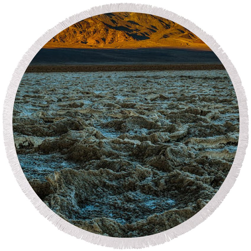 Morning At Badwater Round Beach Towel featuring the photograph Morning At Badwater by George Buxbaum