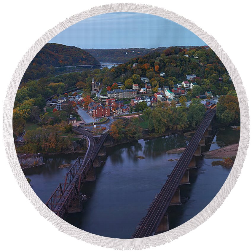 Harpers Round Beach Towel featuring the photograph Morning At Harpers Ferry by Metro DC Photography