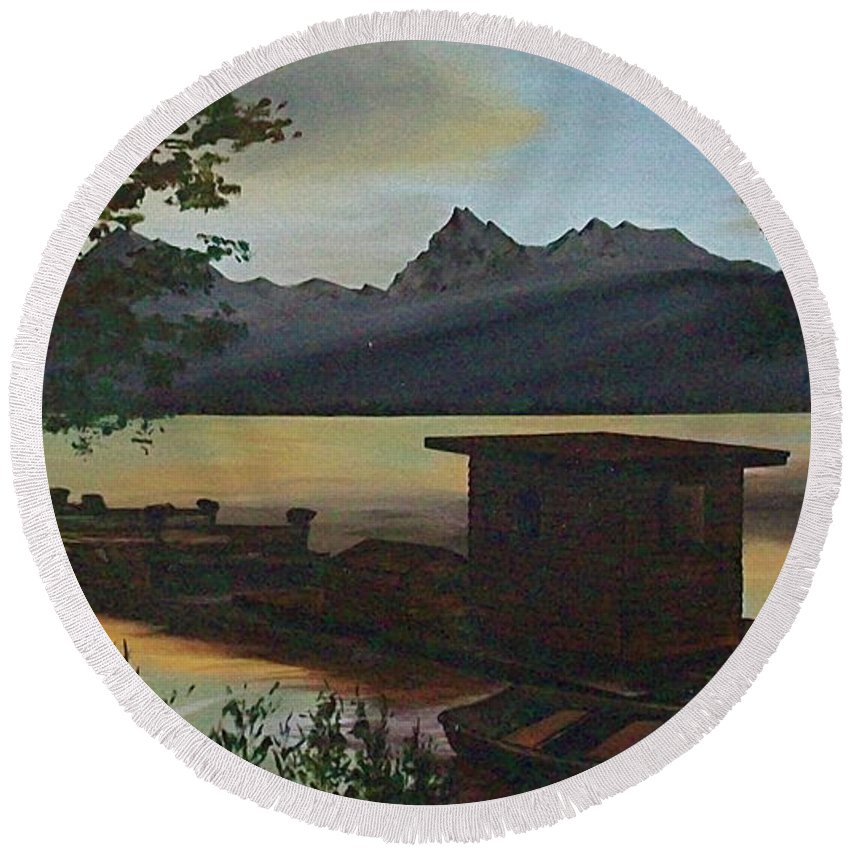 Boats Mountain Peaks Morning Sun Rays Round Beach Towel featuring the painting Morning At Lake Mcdonald Glacier Park by Frank Hunter