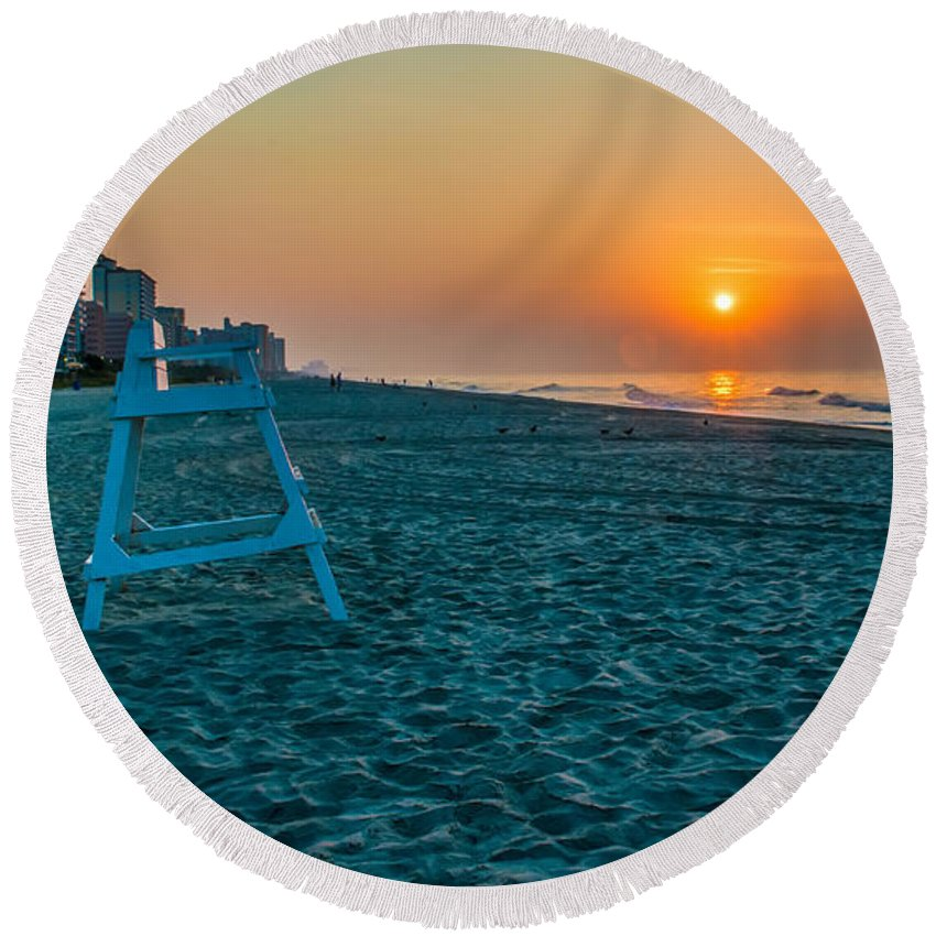 Backgrounds Round Beach Towel featuring the photograph morning at Myrtle Beach South Carolina by Alex Grichenko