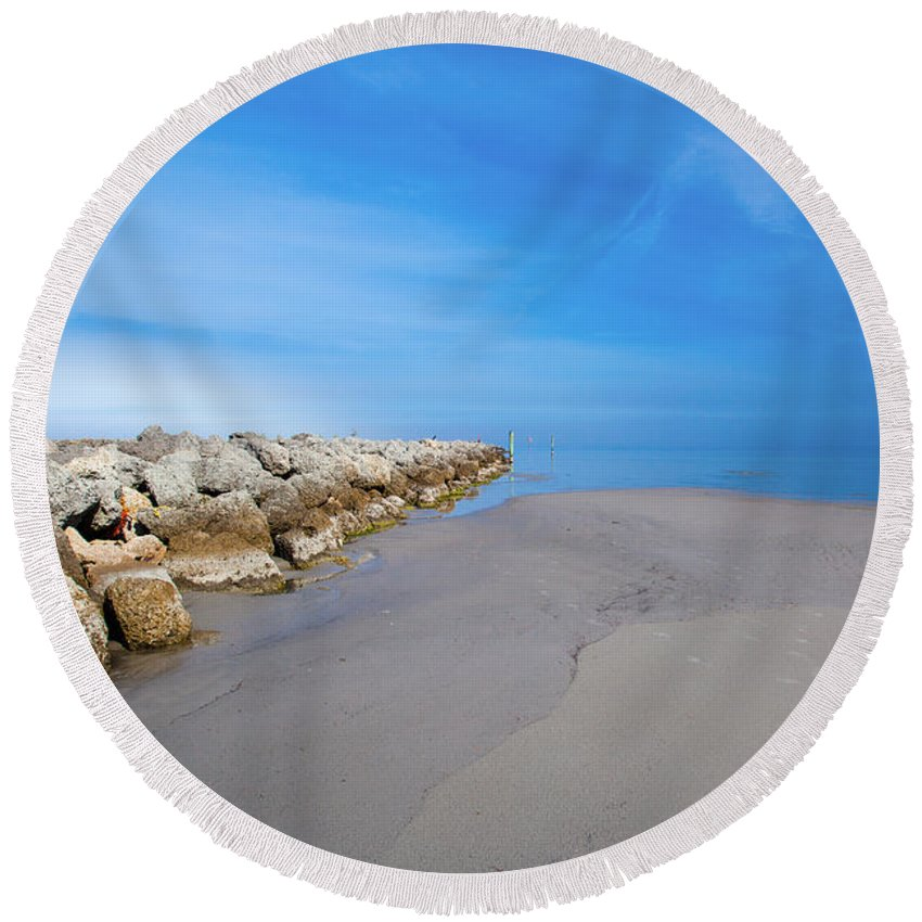 Morning Round Beach Towel featuring the photograph Morning At The Jetty by Paula OMalley