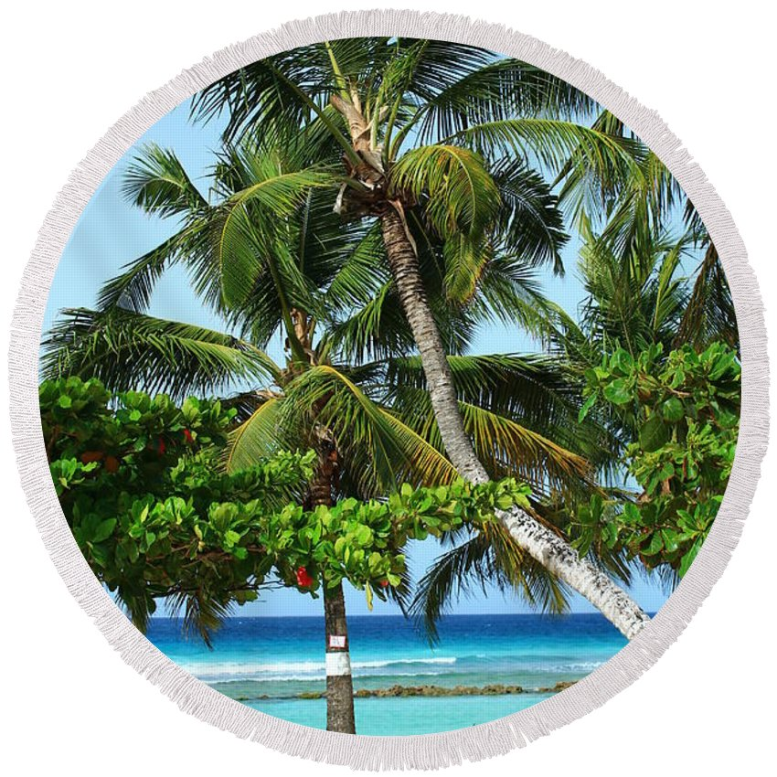 Barbados Round Beach Towel featuring the photograph Morning Beauty by Catie Canetti