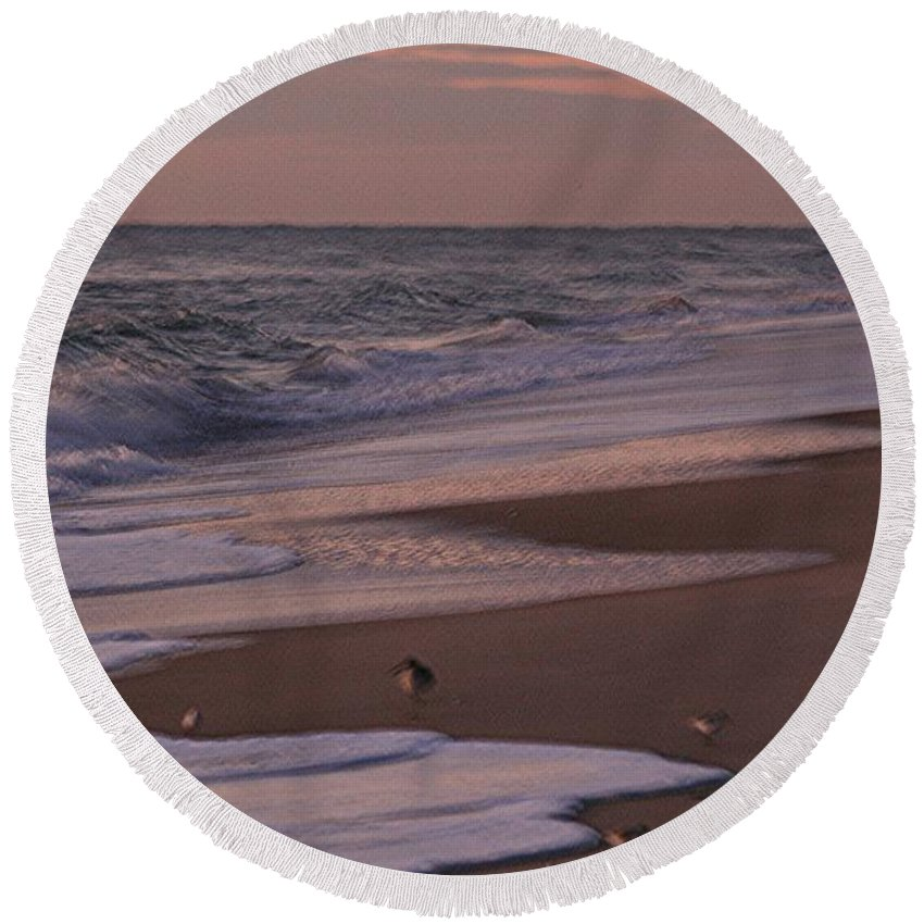 Beach Round Beach Towel featuring the photograph Morning Birds At The Beach by Nadine Rippelmeyer
