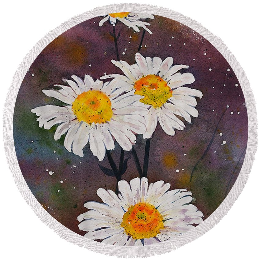 Daisies Round Beach Towel featuring the painting Morning Daisies by Wendy Provins
