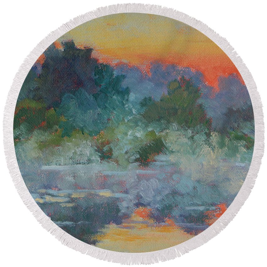 Impressionism Round Beach Towel featuring the painting Morning Fog by Keith Burgess
