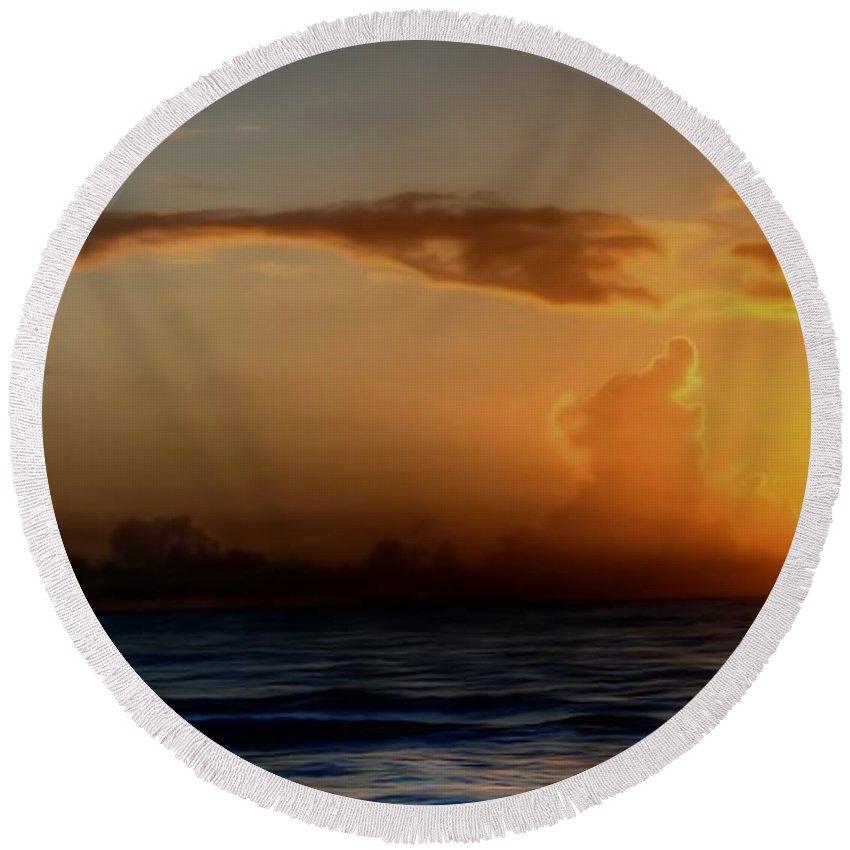 Water Round Beach Towel featuring the digital art Morning Has Broken by Dan Stone