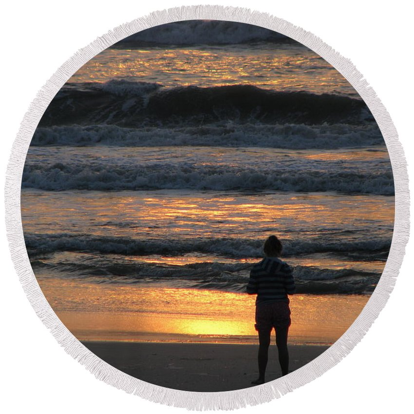 Patzer Round Beach Towel featuring the photograph Morning Has Broken by Greg Patzer
