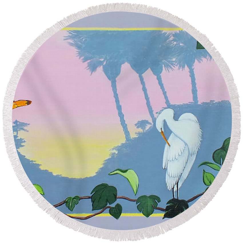 Acrylic Painting Round Beach Towel featuring the painting Morning Heron by Chris McCullough