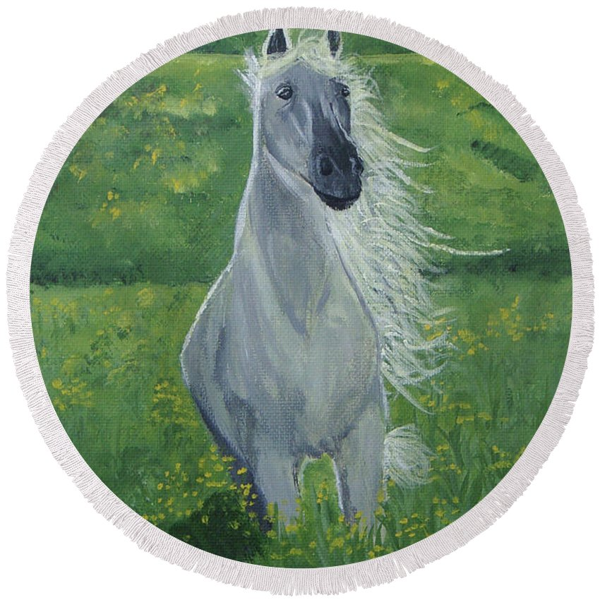 Horse Round Beach Towel featuring the painting Morning In The Pasture by Donna Blackhall