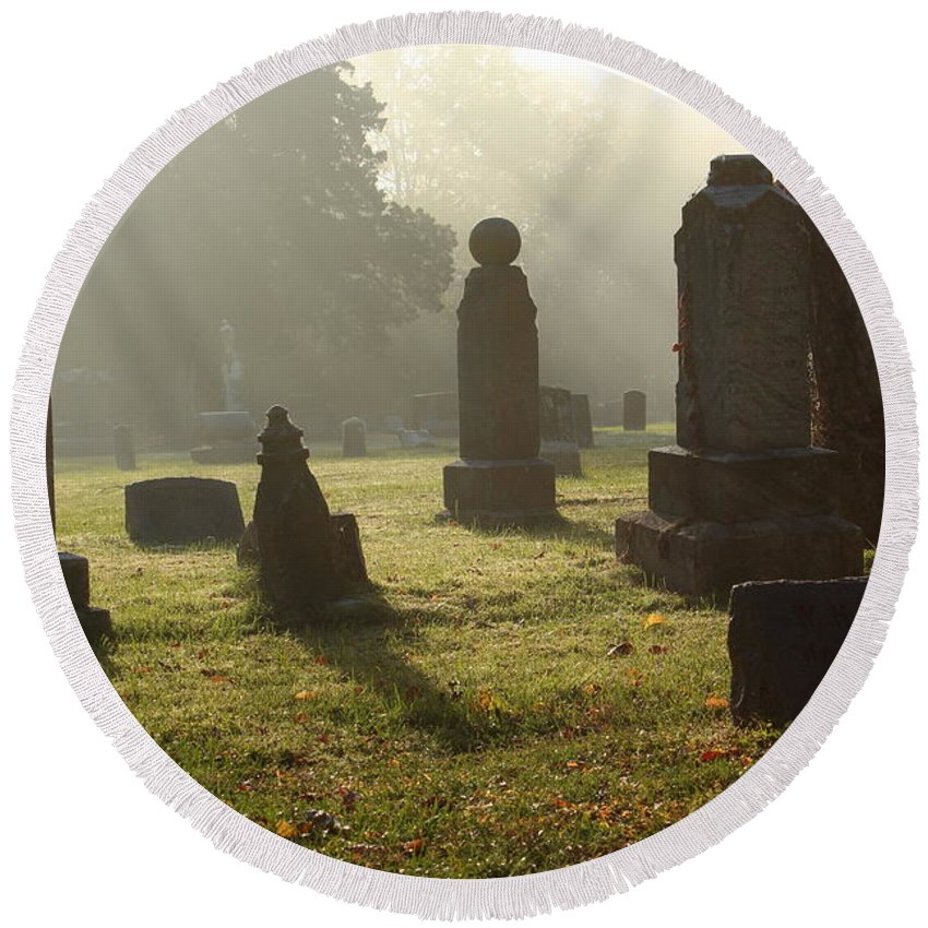Graves Round Beach Towel featuring the photograph Morning Mist At The Cemetery by Lynn Sprowl