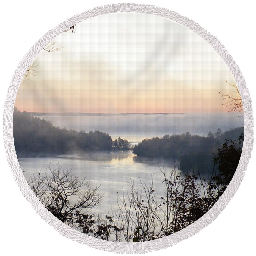 Landscape Round Beach Towel featuring the photograph Morning Mist by Davandra Cribbie