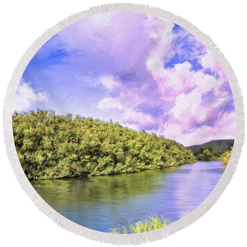 Morning Round Beach Towel featuring the painting Morning On The Hanalei River by Dominic Piperata