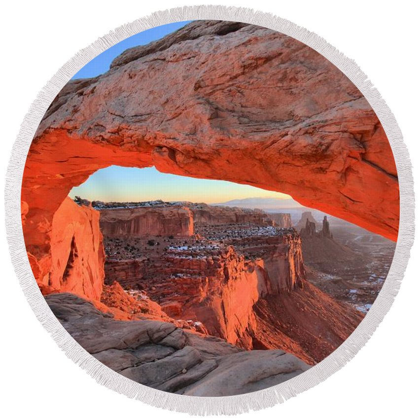 Mesa Arch Sunrise Round Beach Towel featuring the photograph Morning Paint by Adam Jewell
