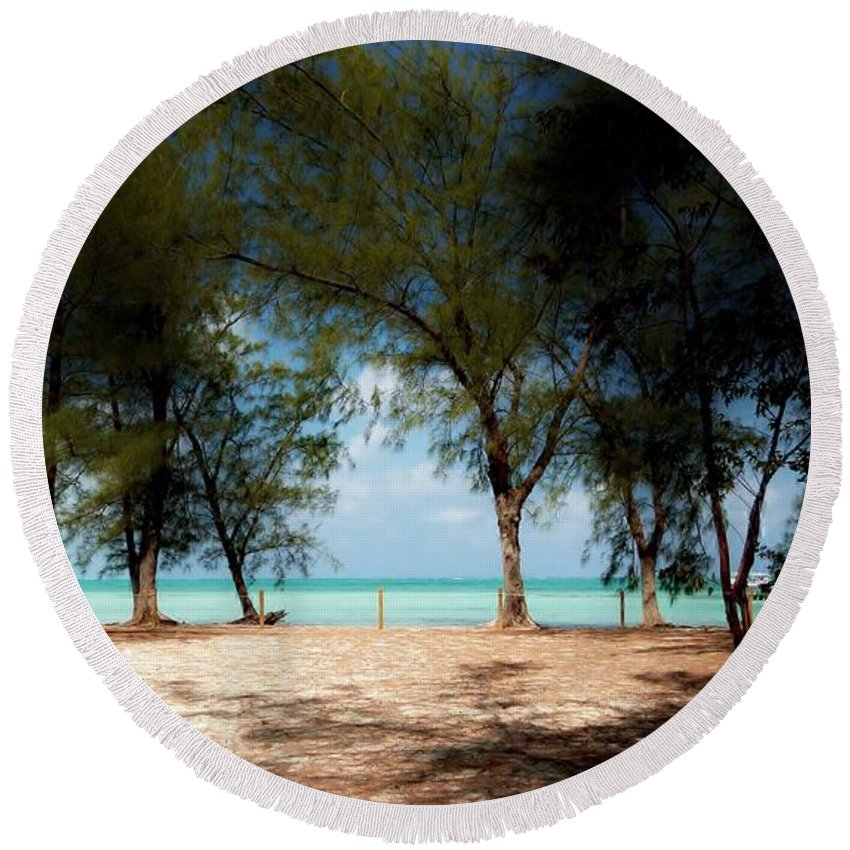 Morning Shadows Under Casurina Trees Round Beach Towel featuring the photograph Morning Shadows by Amar Sheow