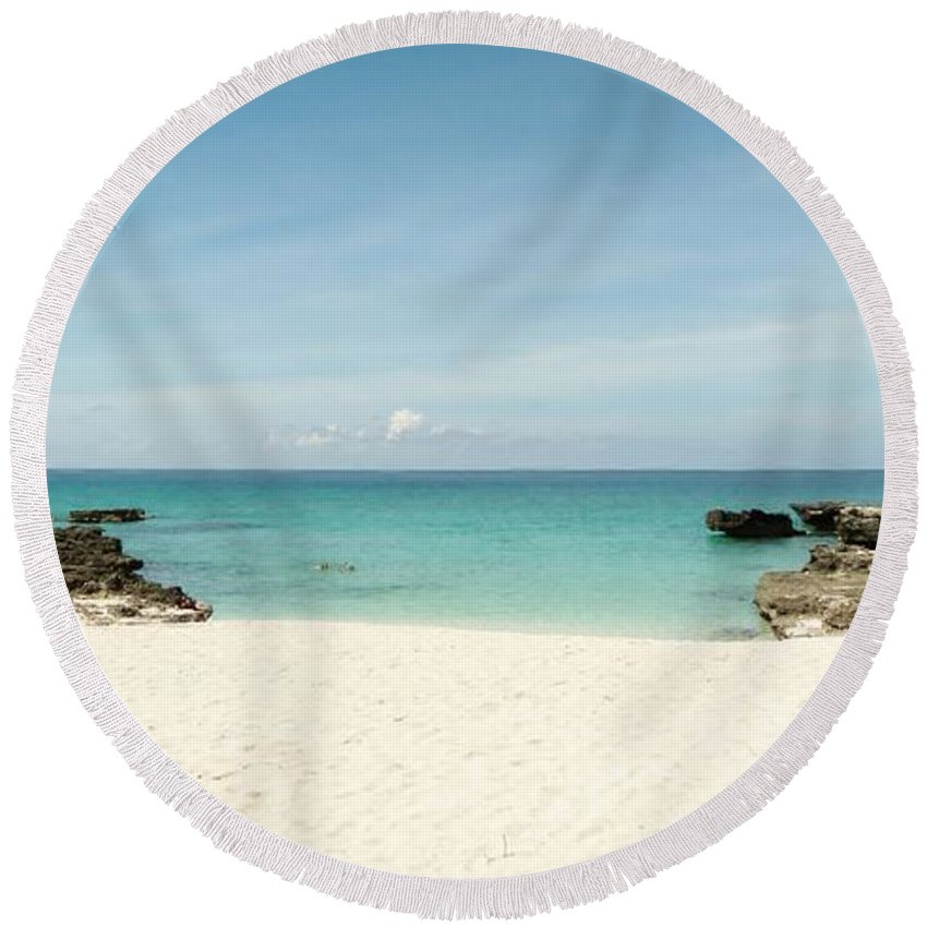 Color Round Beach Towel featuring the photograph Morning Swim by Amar Sheow