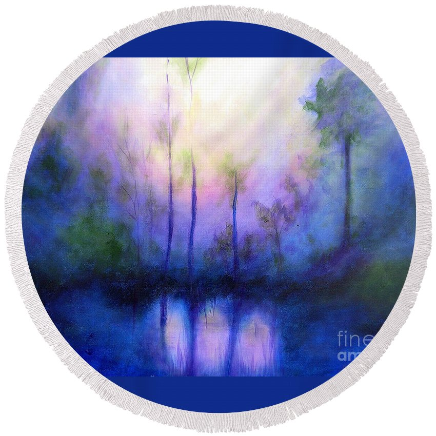 Impressionist Round Beach Towel featuring the painting Morning Symphony by Alison Caltrider