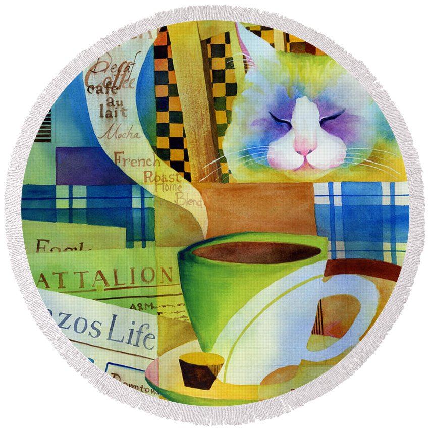 Newspaper Round Beach Towel featuring the painting Morning Table by Hailey E Herrera