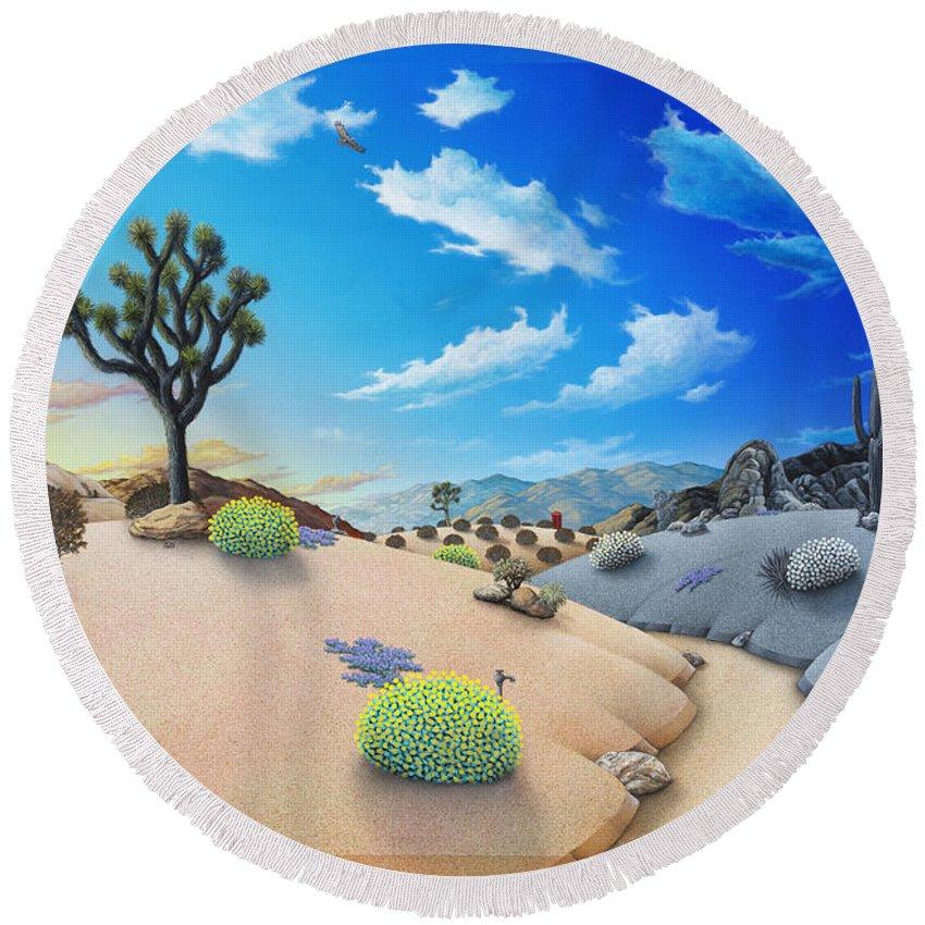 Joshua Tree Round Beach Towel featuring the painting Joshua Tree morning to night by Snake Jagger