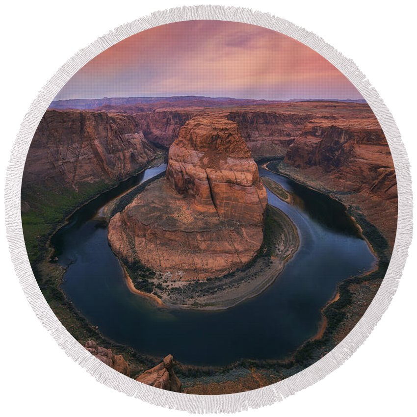 Horseshoe Bend Round Beach Towel featuring the photograph Morning Warning by Peter Coskun