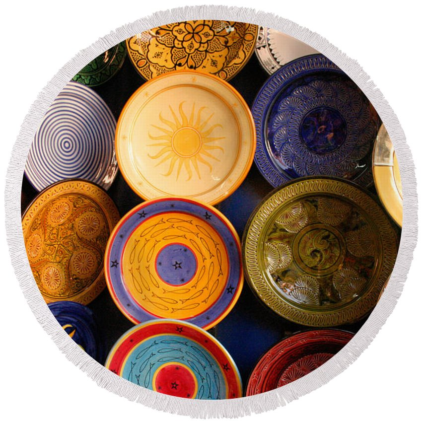 Morocco Round Beach Towel featuring the photograph Moroccan Pottery On Display For Sale by Ralph A Ledergerber-Photography
