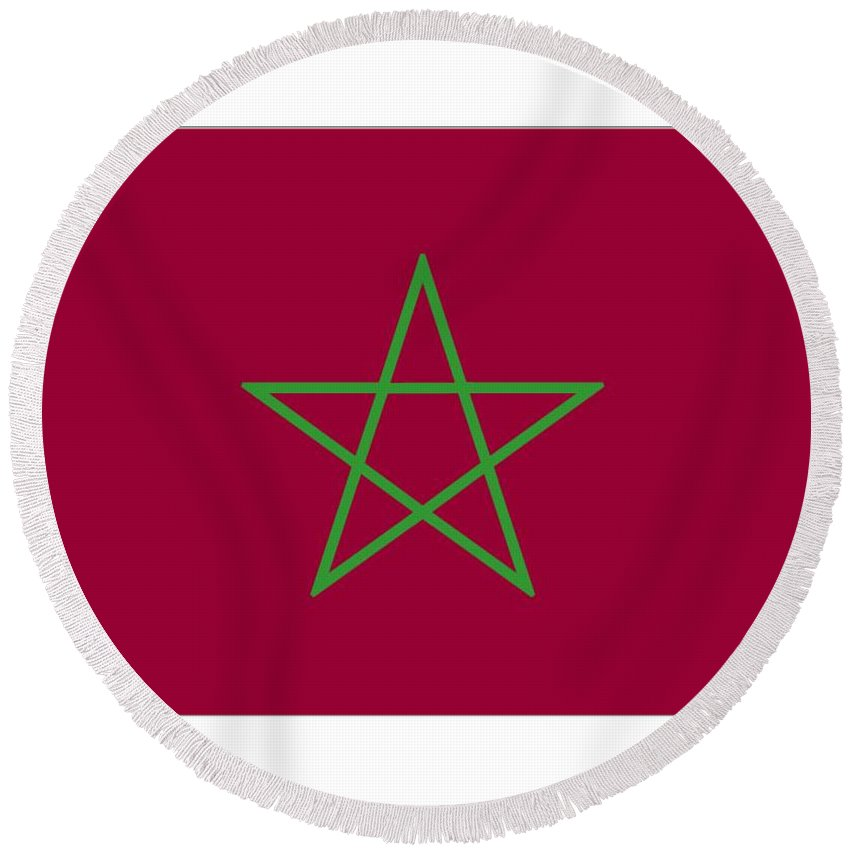 Morocco Round Beach Towel featuring the digital art Morocco Flag by Frederick Holiday