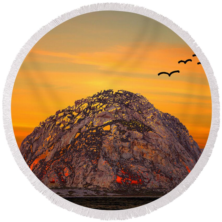 Barbara Snyder Round Beach Towel featuring the digital art Morro Rock 3007 by Barbara Snyder