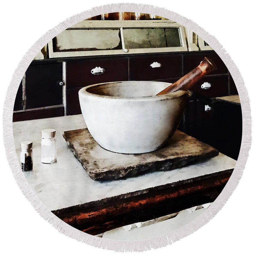 Apothecaries Round Beach Towel featuring the photograph Mortar And Pestle In Apothecary by Susan Savad