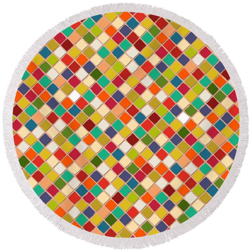 Mosaic Round Beach Towel featuring the drawing Mosaico by MGL Meiklejohn Graphics Licensing