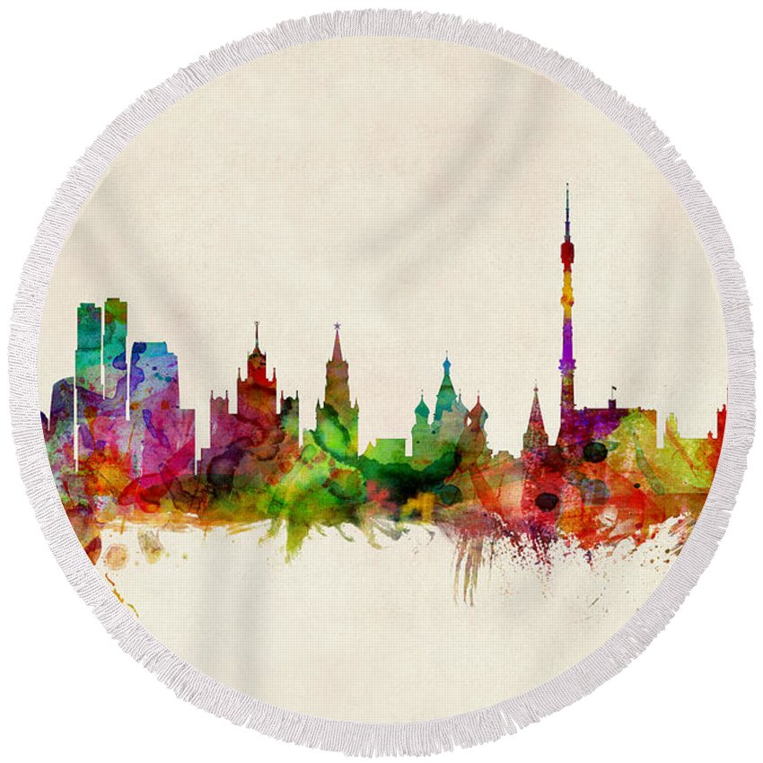 Moscow Skyline Round Beach Towels