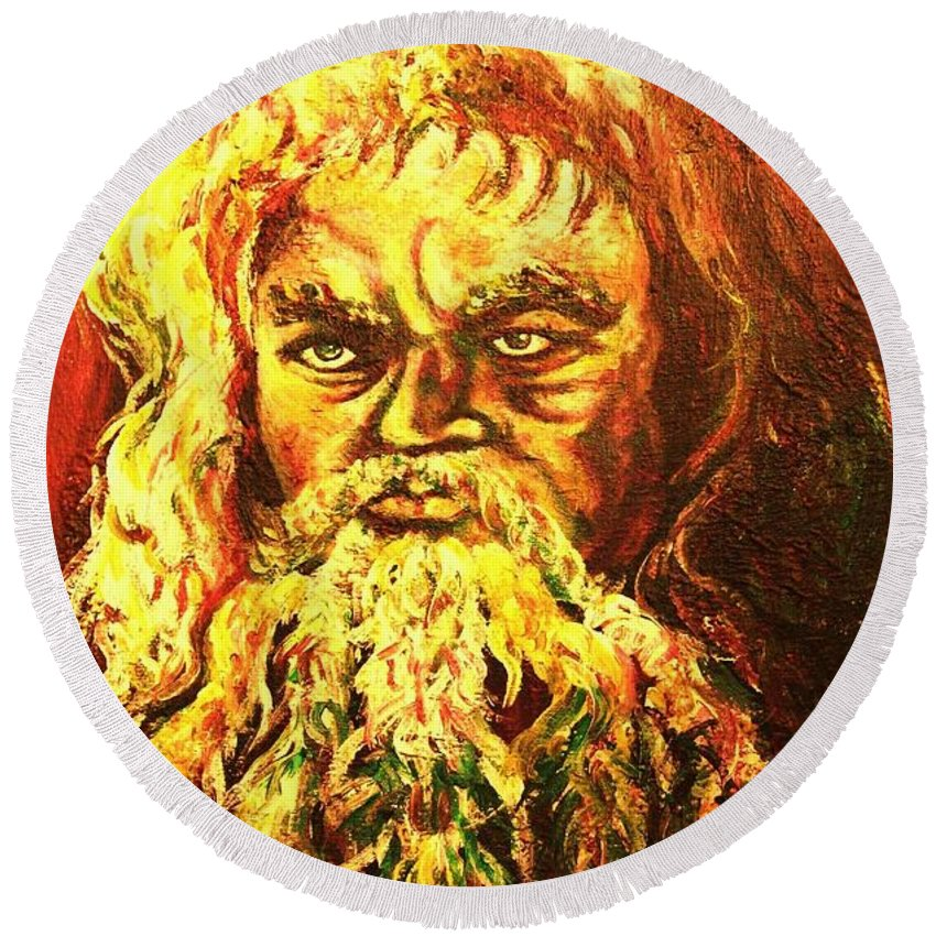 Moses Round Beach Towel featuring the painting Moses At The Burning Bush by Carole Spandau
