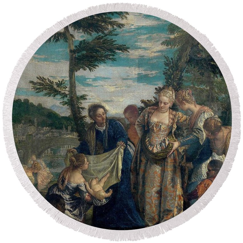 1580 Round Beach Towel featuring the painting Moses Saved From The Waters by Paolo Veronese