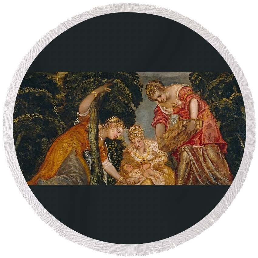 1552-1555 Round Beach Towel featuring the painting Moses Saved From The Waters by Tintoretto