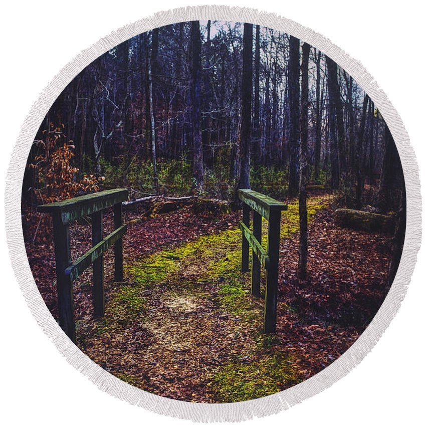 Moss Round Beach Towel featuring the photograph Moss Covered Path by Joan McCool