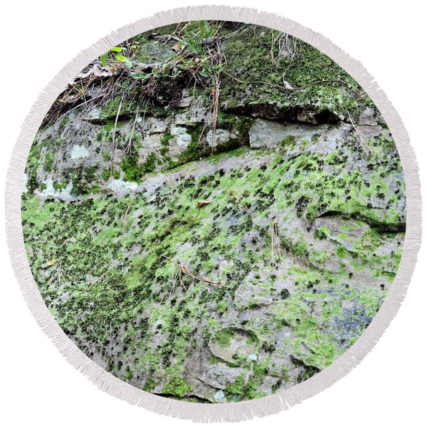 Moss Rock Round Beach Towel featuring the photograph Moss Rock by Maria Urso
