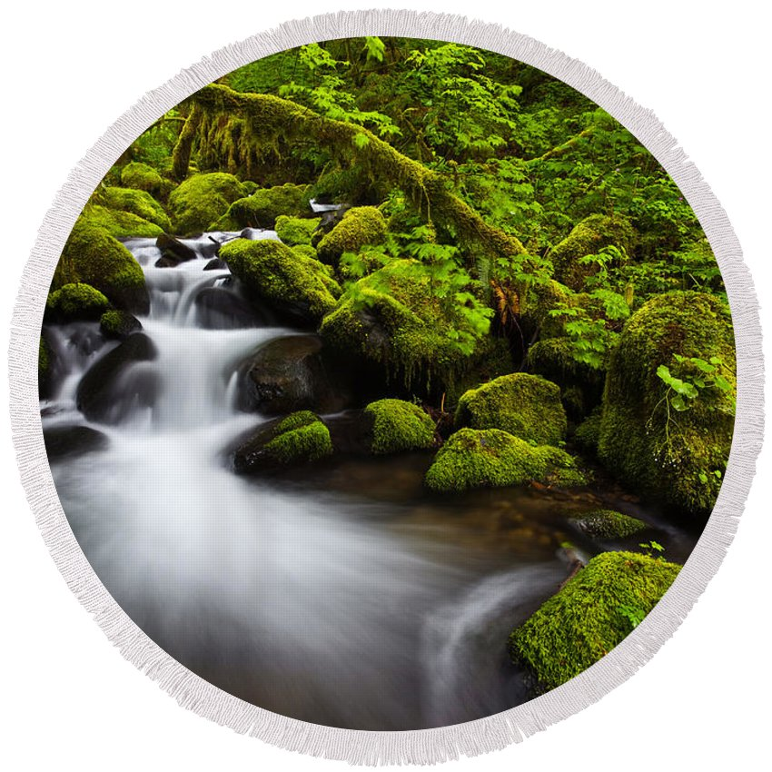 Lush Round Beach Towel featuring the photograph Mossy Arch Cascade by Darren White