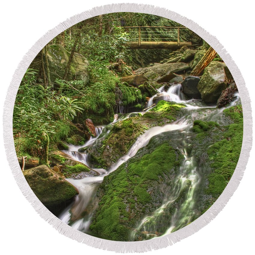 Appalachia Round Beach Towel featuring the photograph Mossy Creek by Debra and Dave Vanderlaan
