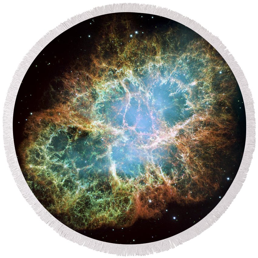 3scape Round Beach Towel featuring the photograph Most Detailed Image Of The Crab Nebula by Adam Romanowicz