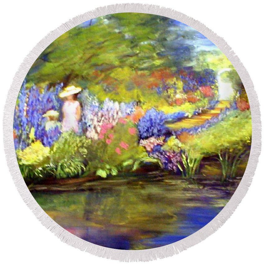 Flower Garden Round Beach Towel featuring the painting Mother And Daughter by Gail Kirtz