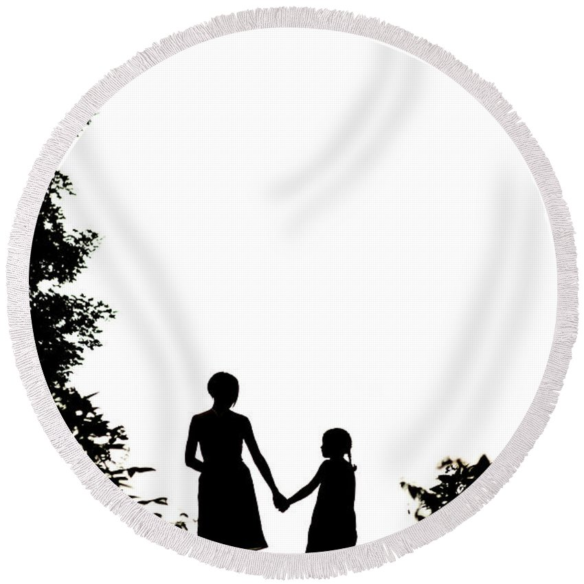Mother Round Beach Towel featuring the photograph Mother And Daughter Holding Hands by Lee Avison