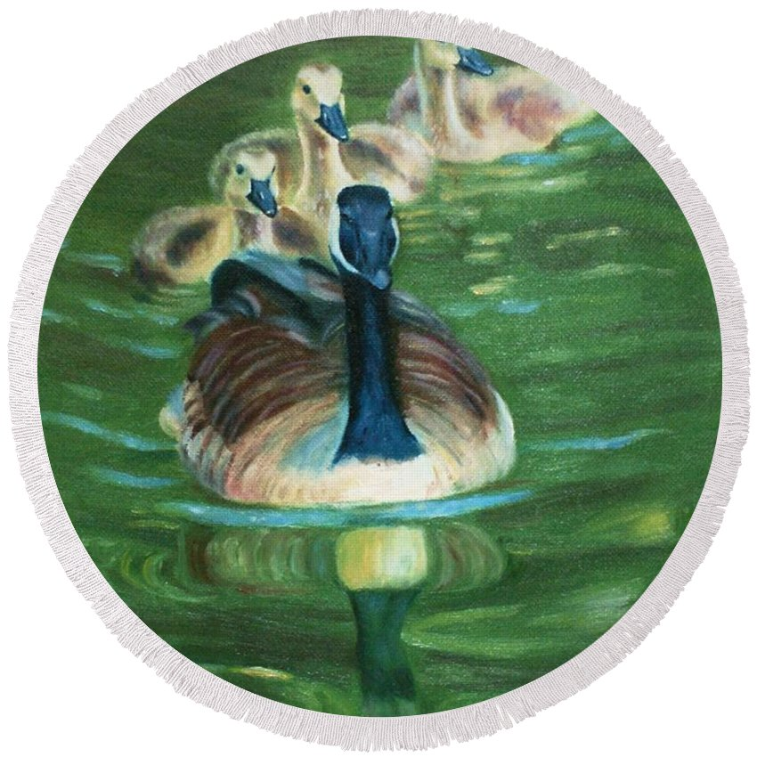 Nature Round Beach Towel featuring the painting Mother Goose by Jill Ciccone Pike
