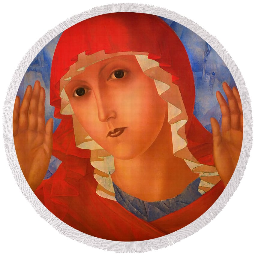 Mother Of God Round Beach Towel featuring the painting Mother Of God by Mountain Dreams