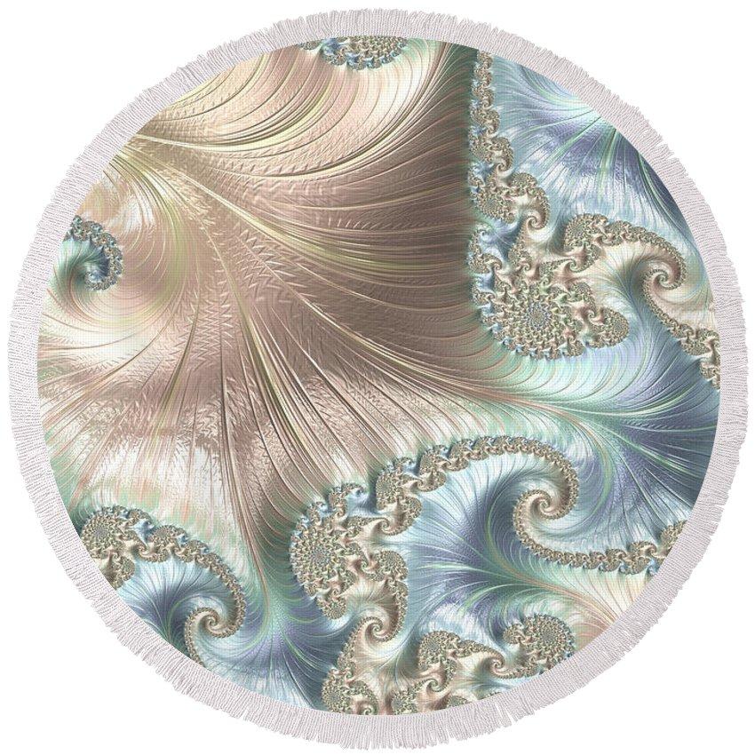 Fractal Round Beach Towel featuring the digital art Mother Of Pearl - A Fractal Abstract by Ann Garrett