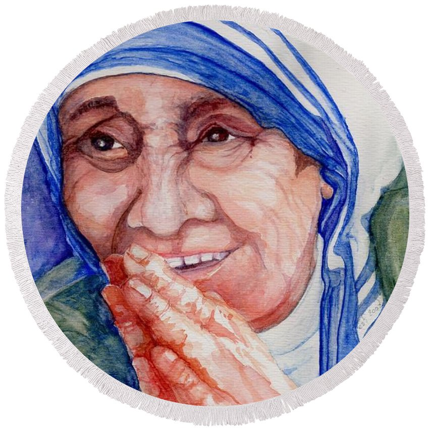 Elle Fagan Round Beach Towel featuring the painting Mother Teresa by Elle Smith Fagan